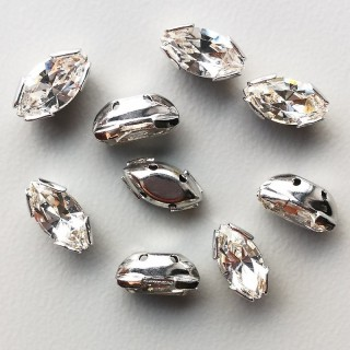 Navette Single Stone Argintiu 10 x 5 mm - Crystal